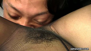 Horn-mad Japanese office whore Chiharu Nakai sits on dude's face