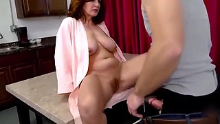 Naughty stepson loves to fuck mature milf and offers her stepmother to try family porn! Sex with chubby stepmother!