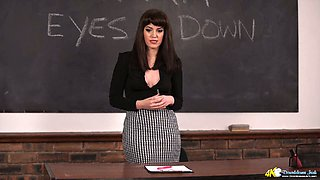 Brunette teacher Zoe Page exposes her fine boobs in hot solo