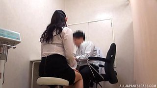 Office doggy style fuck with a Japanese secretary in stockings