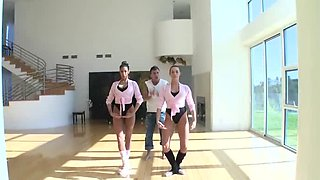 Two ballerinas domination over big white cock