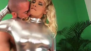 busty stepmom anal in silver spandex