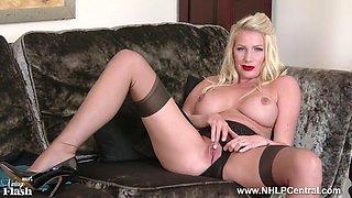 posh blonde slut strips off lingerie and wanks in rht nylons