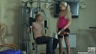 Frisky Anal Strapon Fuck for Guy in the Gym by a Dominant Bitch