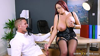 Emma Butt's big tits covered in semen after a sex session