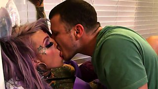 Busty inked emo girl sucking and fucking two throbbing cocks