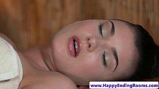 Sensual lesbian masseuse seducing customer
