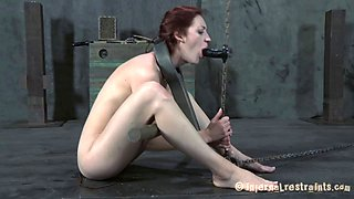 Chained Holly Wildes refined using gigantic toy in BDSM