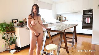 Hairy Nora Fucks herself with Dildo on Kitchen Table