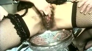 Blonde dirty bitch pisses in the fruit vaze and gets cumloads