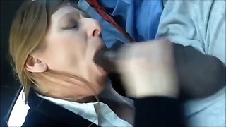 Amateur milf sucks off bbc (cum swallow, riot area)