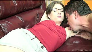 Four eyed bitch makes her perverted lover suck her toes