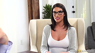 Cute American sweetheart August Ames gets a big load on her face