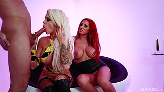 House of pleasure and threesome with a redhead Syren Sexton