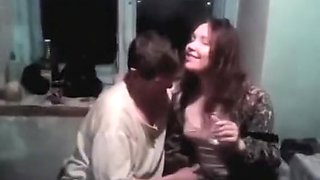 Drunken woman breast on camera