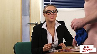 Spex UK babe humiliates tugging guy