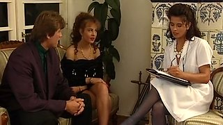 Gorgeous and busty European sex doctor having session with a couple