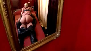 Latex blonde dominates man bitch and forces sex