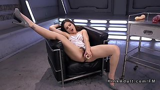 tied up brunette pounds machine