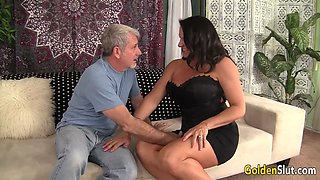 Granny seducing grandpa and wants to get that huge prick up inside her wet cunt in different poses