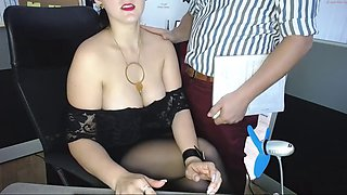 hot secretary teasing in office
