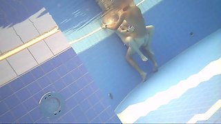 Hot blond fucks big dick in sauna pool