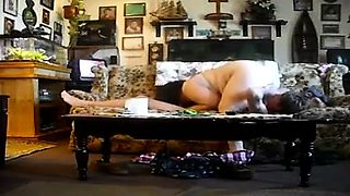 Chunky housewife gets drilled hard doggystyle on the couch