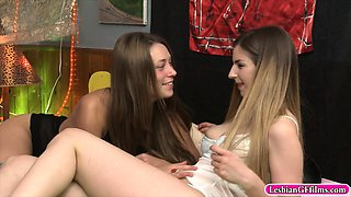 Lustful lezzies pussy licking and face sitting on the bed