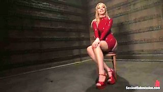 Sexy doll in latex and high heels is here to be abused and banged
