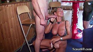 Two german milfs seduce huge dick german boy to fuck