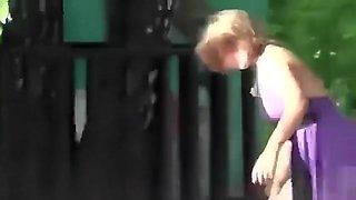 Drunk village chick enjoys doing cartwheels in a short summer dress