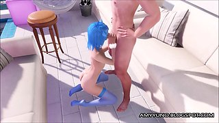 virtual 3d petite small scene emo teen blows and fucks!