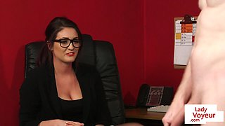 office beauty instructing wanking sub feature
