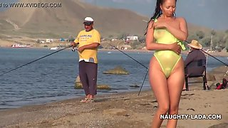 Transparent swimsuit and nude on the beach 2 min hd