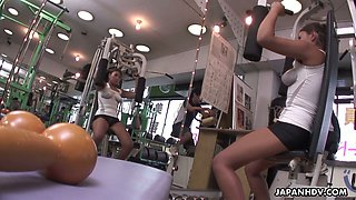Ample breasted topless bitch Nami Himemura hooks up with several guys at the gym