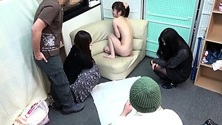 Shy asian teen gets naked