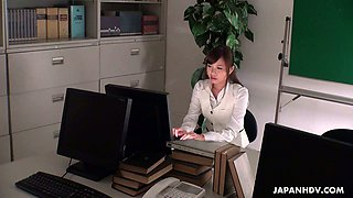 Slutty Japanese secretary Aihara Miho is masturbating in the office