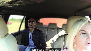 Female Fake Taxi Italian tourist fucks sexy busty blonde
