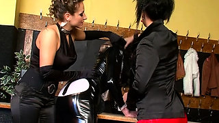 Hawt maid gets her butt spanked in female domination fetish